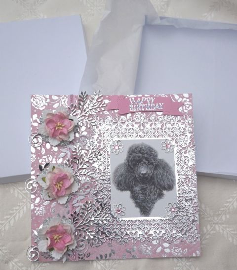 HAND MADE BLACK POODLE HAPPY BIRTHDAY KEEPSAKE CARD BOXED WITH FLOWERS
